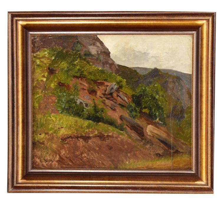 ROCKY LANDSCAPE BY LOUIS KOLITZ (GERMAN, 1845-1914).