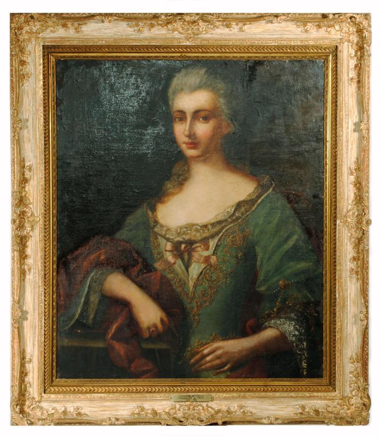PORTRAIT OF MADAME DE PRIVO BY FRANCOIS DE TROY (FRENCH, 1679-1752).