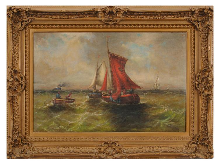 BOATS ON THE SEA BY C. OTTE.