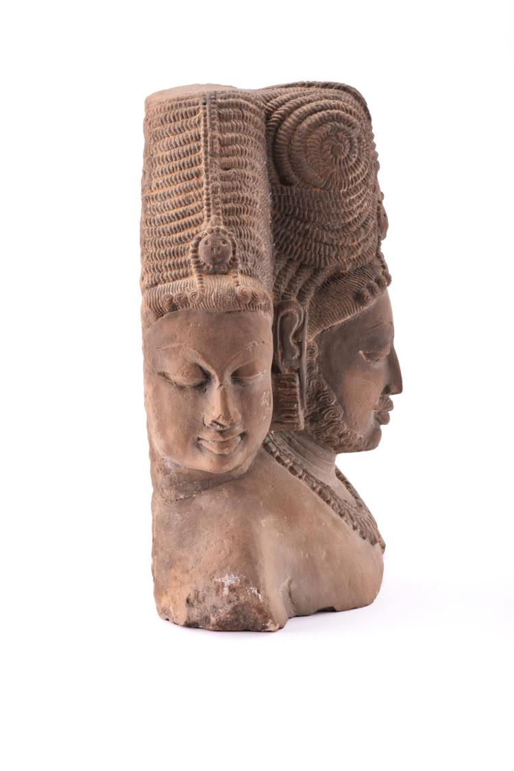 Well carved hindu stone sculpture of trimurtri