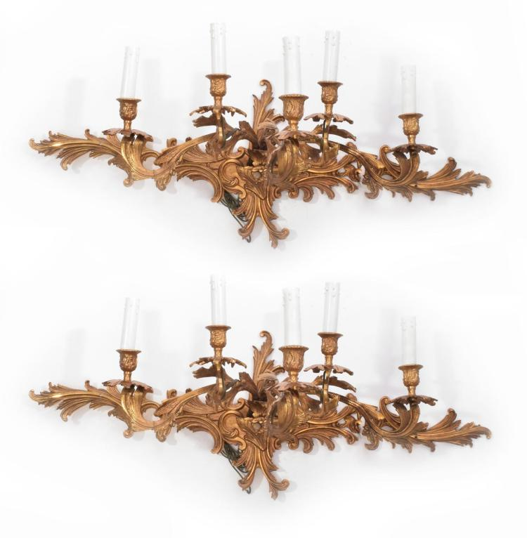 PAIR LOUIS XV STYLE FIVE-LIGHT WALL SCONCES.
