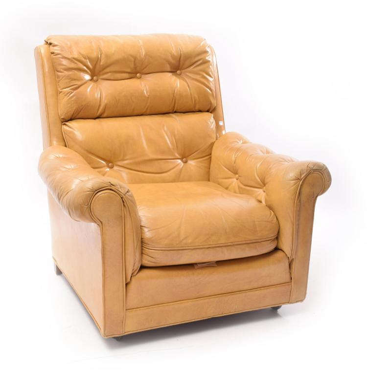 YELLOW LEATHER EASY CHAIR.