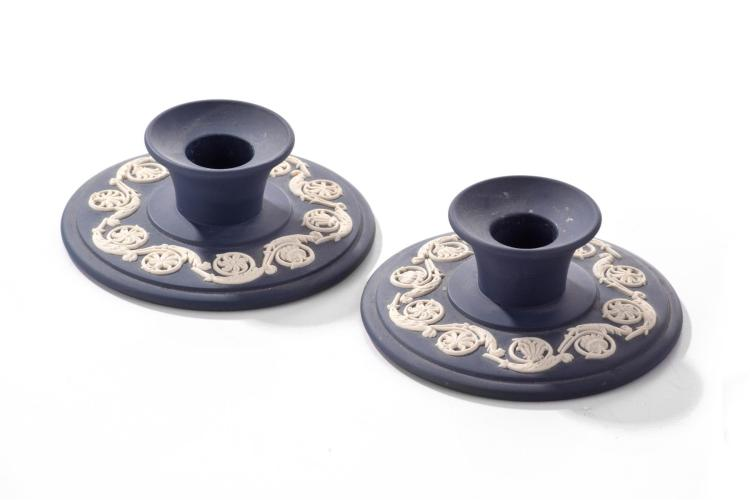 PAIR OF WEDGWOOD CANDLESTICK HOLDERS.