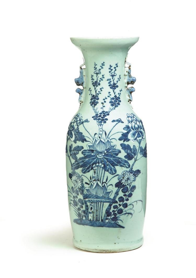 BLUE AND WHITE FLOOR VASE.