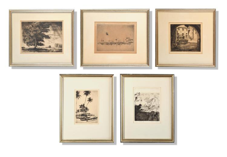 GROUP OF FIVE ORIGINAL FRAMED ETCHINGS.