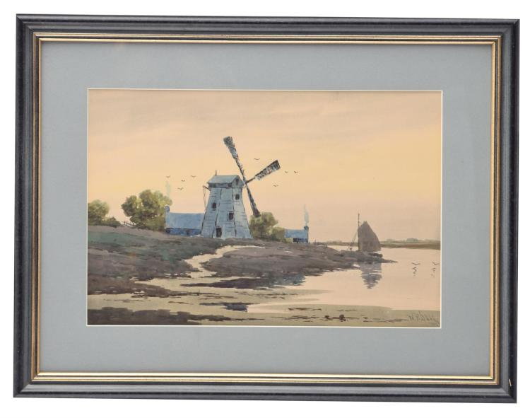TWO VIEWS, WINDMILL AND CANAL BY W. F. DELL (AMERICAN, LATE 19TH-EARLY 20TH CENTURY).