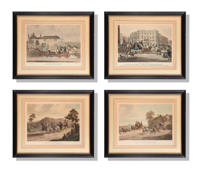 FOUR HORSE AND CARRIAGE PRINTS (ENGLISH, LATE 18TH- EARLY 19TH CENTURY).