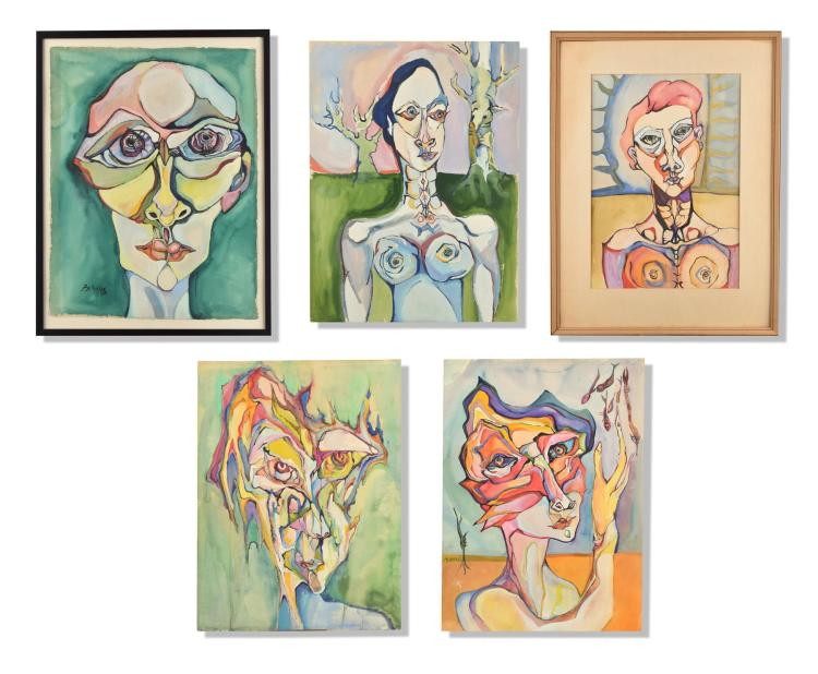 FIVE SIGNED MODERNIST WATERCOLORS.