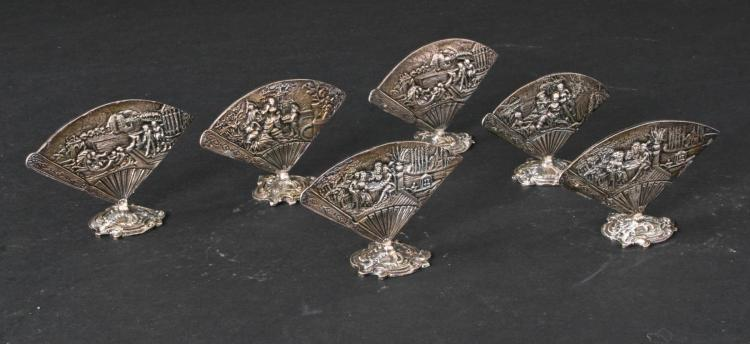 SIX SILVER PLATE PLACE CARD HOLDERS.