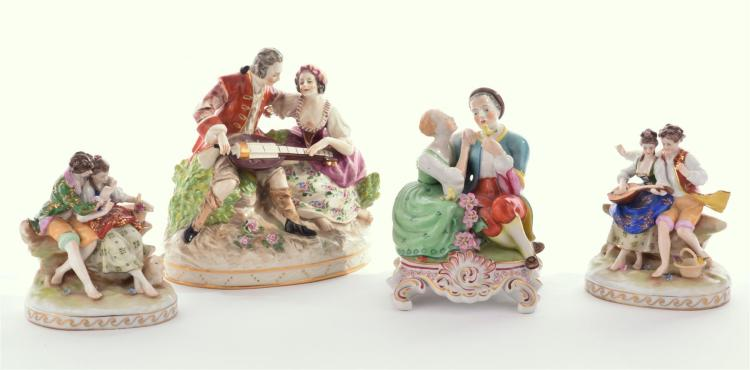 FOUR PORCELAIN FIGURE GROUPS.