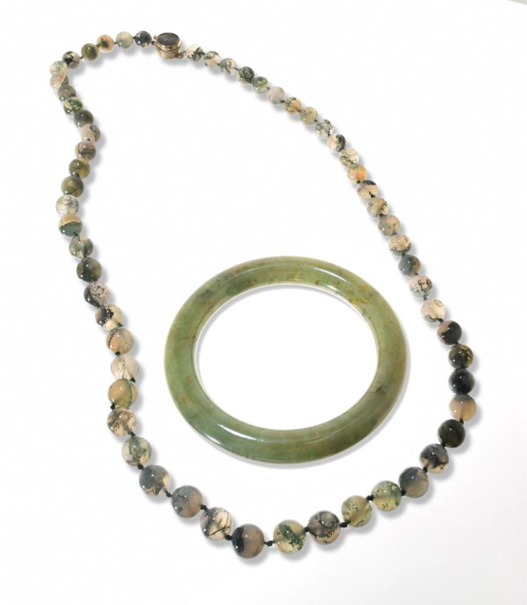 THICK JADE BANGLE AND MOSSY AGATE BEADED NECKLACE.