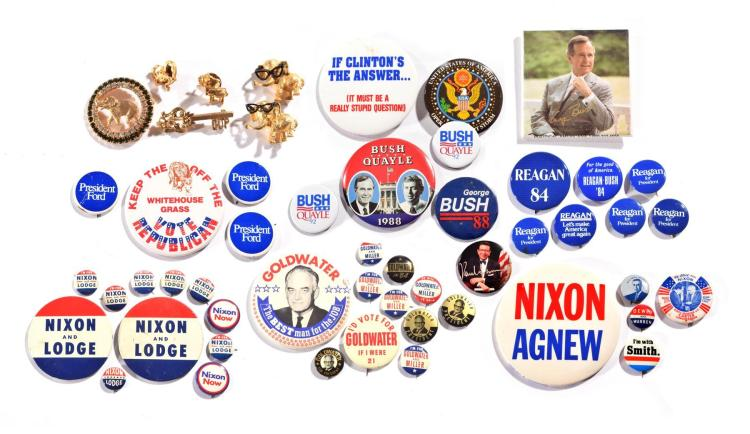ASSORTMENT OF OVER SEVENTY HISTORICAL POLITCAL BUTTONS AND PINS.