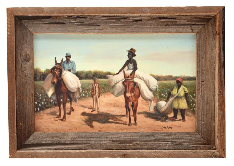 TWO FOLK ART PAINTINGS OF FIELD LABOR (AMERICAN, MID-LATE 20TH CENTURY).