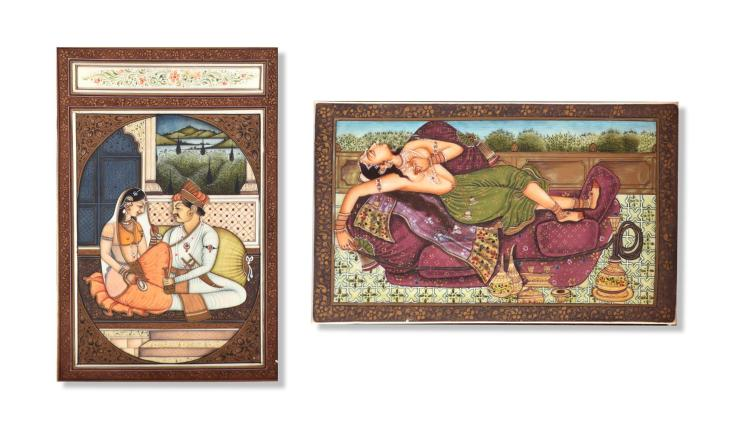 TWO MUGHAL BONE PORTRAITURES.