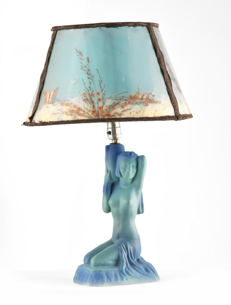 FIGURAL LAMP AND BUTTERFLY SHADE BY VAN BRIGGLE.