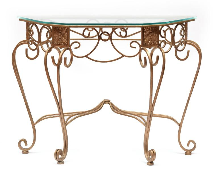 DECORATIVE CAST IRON TABLE.