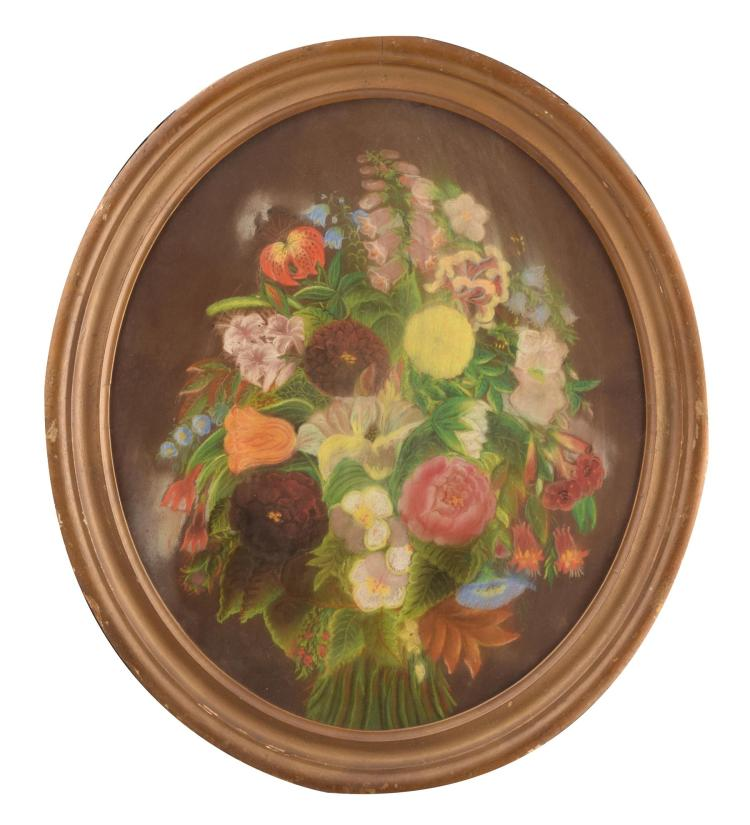 OVAL FLORAL STILL LIFE (AMERICAN, LATE 19TH -EARLY 20TH CENTURY).