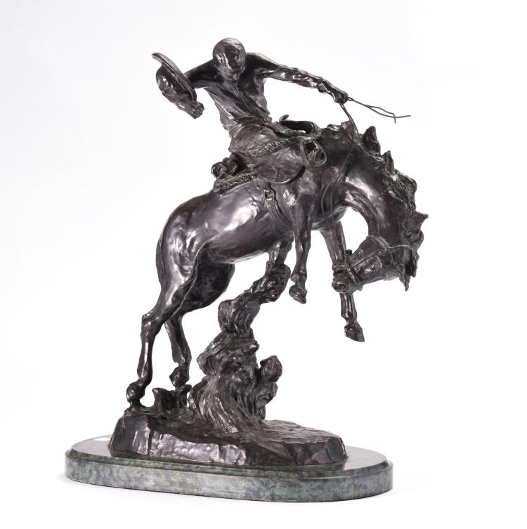 WESTERN BRONZE STATUE AFTER CHARLES RUSSELL.