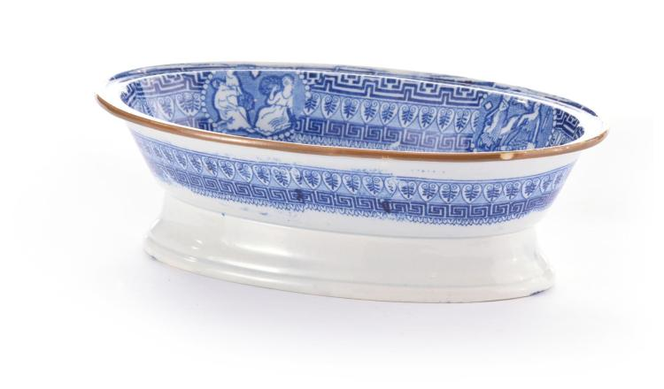 TRANSFER DECORATED OVAL FOOTED DISH.
