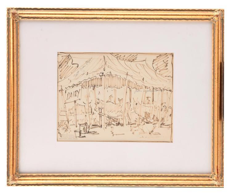 GENRE SCENE BY HAROLD WOLCOTT (AMERICAN, 1898 - 1977).