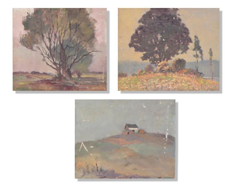 GROUP OF THREE PAINTINGS BY OSCAR SOELLNER (AMERICAN, 1890 - 1952).