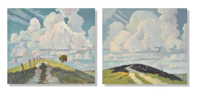 TWO LANDSCAPES BY OSCAR SOELLNER (AMERICAN, 1890-1952).