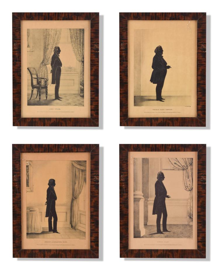 FOUR FRAMED SILHOUETTES BY WILLIAM HENRY BROWN (AMERICAN, 1808-1883).