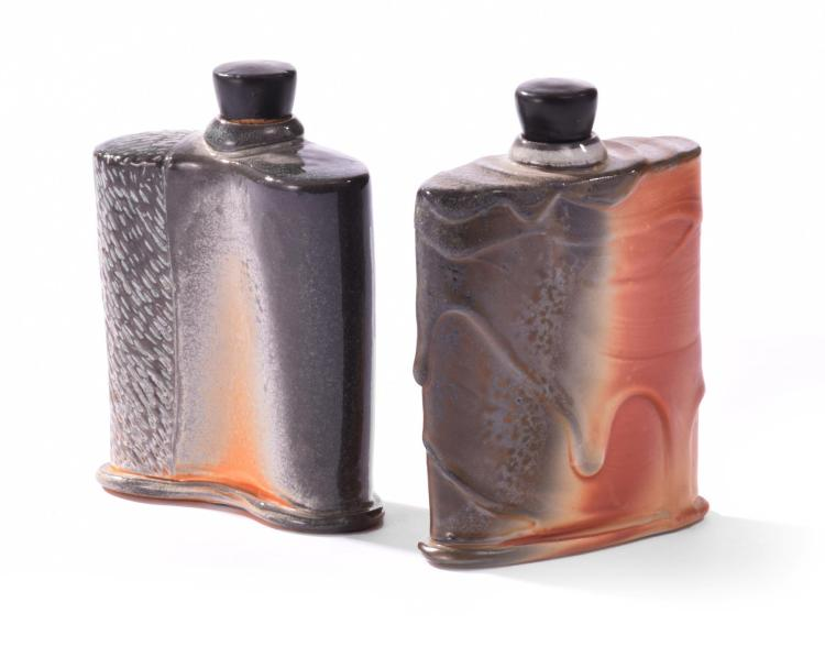 NEAR PAIR MATT LONG POTTERY FLASKS.