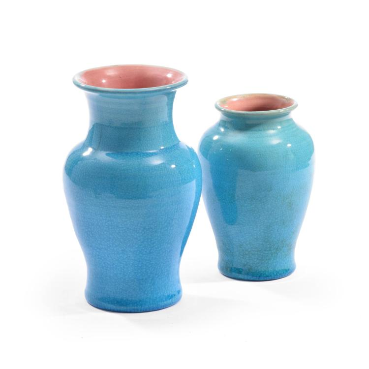 TWO PISGAH FOREST POTTERY VASES.