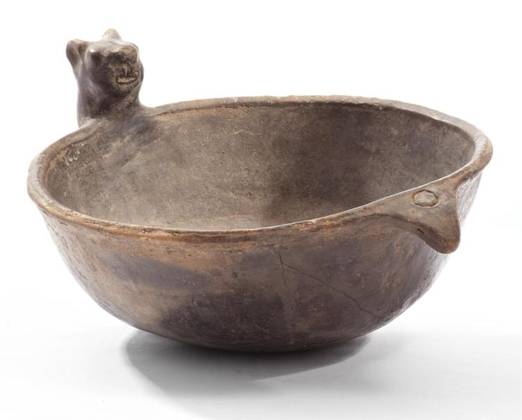 PREHISTORIC NATIVE AMERICAN FIGURAL POTTERY EFFIGY BOWL.