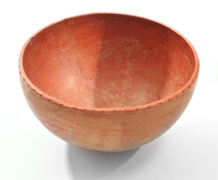 LARGE PREHISTORIC NATIVE AMERICAN QUAPAW POTTERY BOWL.