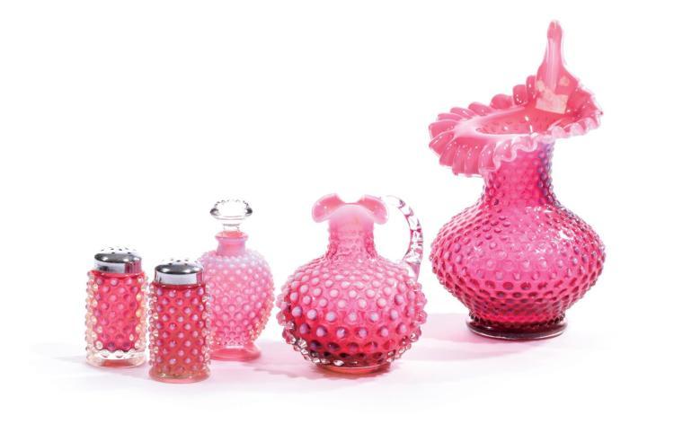 FIVE PIECES CRANBERRY HOBNAIL ART GLASS.