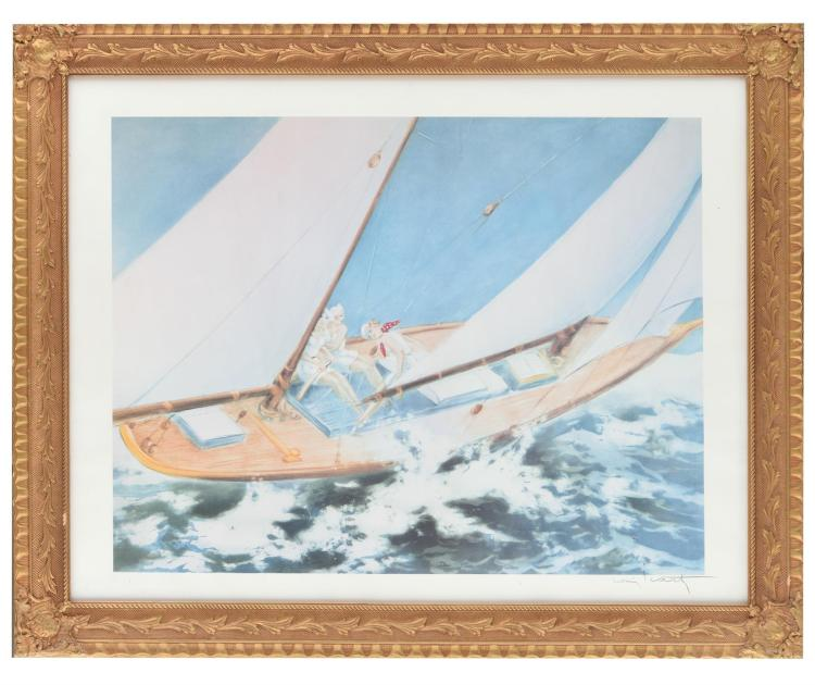SAILBOAT PRINT AFTER LOUIS ICART (FRENCH, 1888-1950).