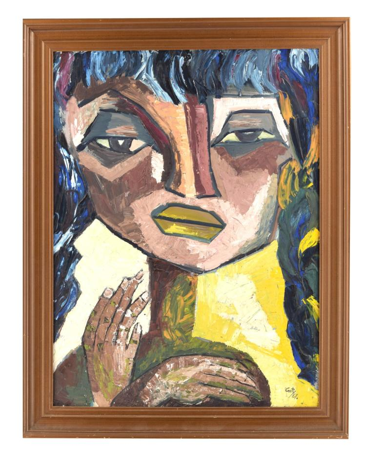 MODERN EXPRESSIONIST PORTRAIT BY GITY (AMERICAN, 20TH CENTURY)