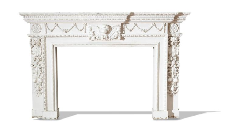 ORNATE WHITE MANTEL.