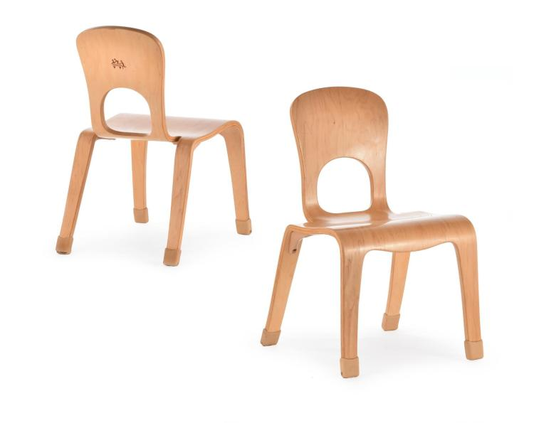 SET OF FOUR MODERN CHILD'S BENTWOOD SIDE CHAIRS.