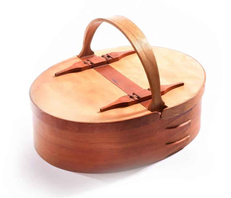 BENTWOOD BASKET BY MARION MITCHELL.