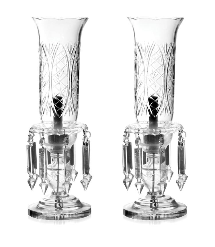 PAIR CRYSTAL BOUDOIR LAMPS.