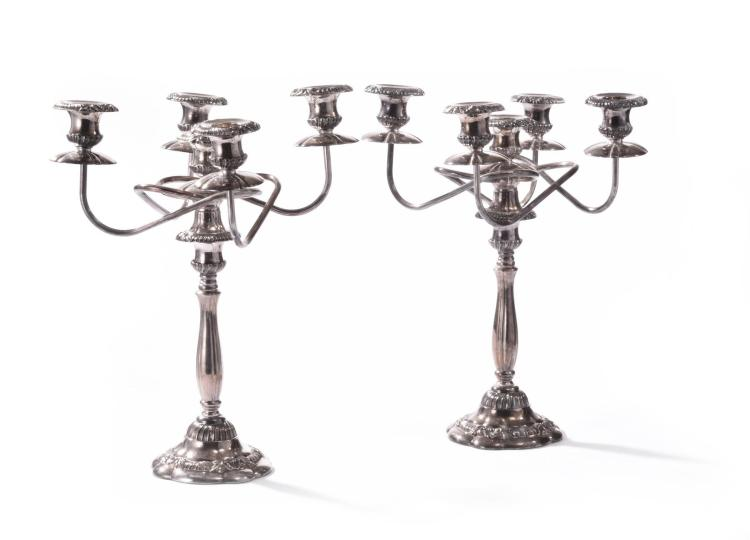 PAIR OF SILVER PLATE CANDELABRA.
