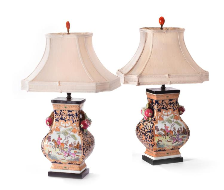PAIR OF CHINESE TABLE LAMPS.