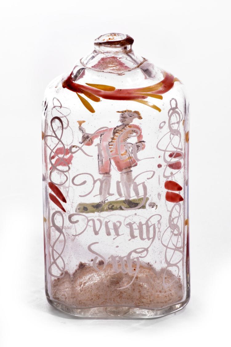 PENNSYLVANIA DUTCH GLASS BOTTLE.
