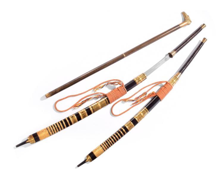 PAIR OF ASIAN SWORDS.