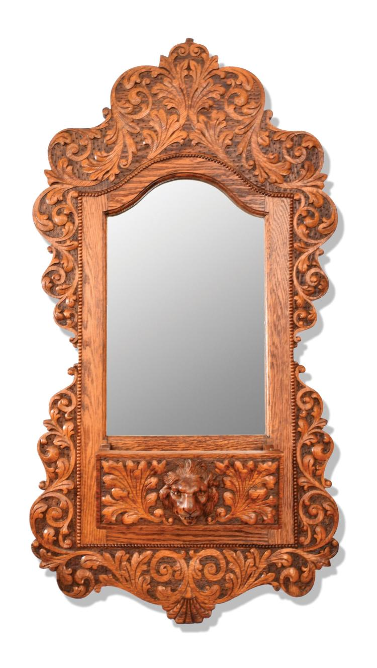 OAK WALL MIRROR.