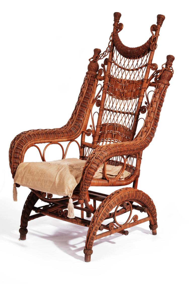 HEYWOOD WAKEFIELD WICKER PLATFORM ROCKING CHAIR.