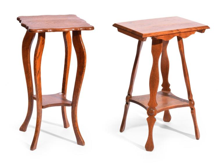 TWO OAK SIDE TABLES.