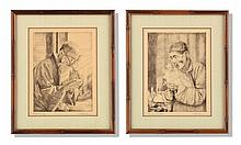 NEAR PAIR OF ETCHINGS BY WILLY SEILER (GERMAN, B. 1903).