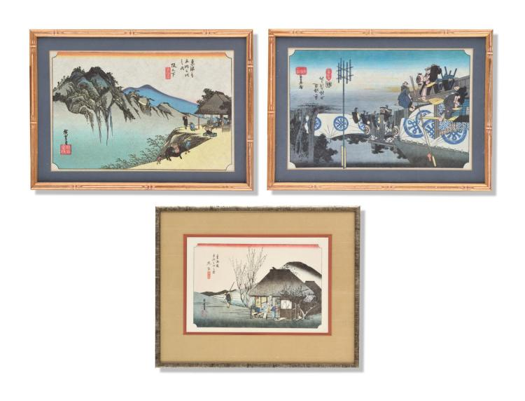 THREE PRINTS FROM HIROSHIGE'S 53 STATIONS OF THE TOKAIDO ROAD, HOEIDO EDITION.