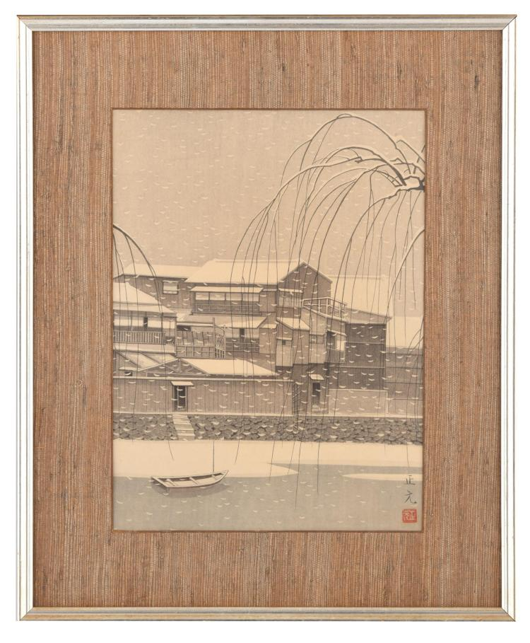 SNOW AT EBIZEN CANAL BY MORI MASAMOTO (JAPAN, 20TH CENTURY).