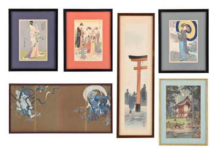 FIVE WOODBLOCK PRINTS AND A FRAMED TABLE SCREEN.