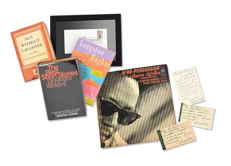 COLLECTION OF LANGSTON HUGHES AND AKIBA HARPER SIGNED BOOKS AND LETTERS.